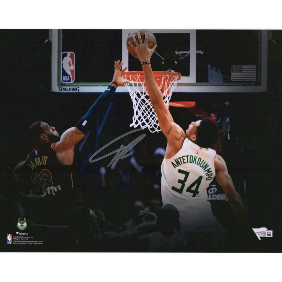 Giannis Antetokounmpo Milwaukee Bucks Autographed 11_ x 14_ Dunk On Lebron Photograph