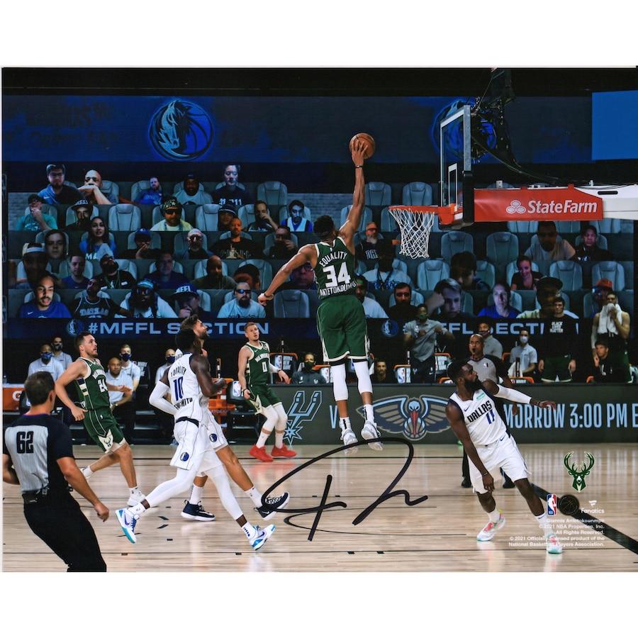 Giannis Antetokounmpo Milwaukee Bucks Autographed 8_ x 10_ Dunking Photograph